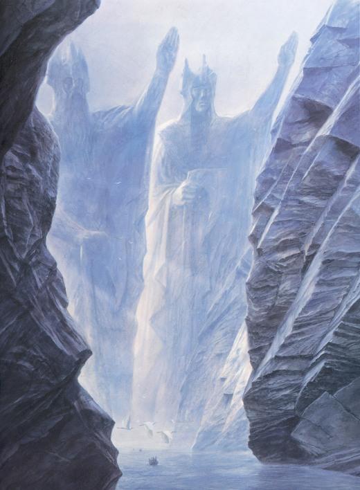 Os Argonath marcam a fronteira sul de Gondor